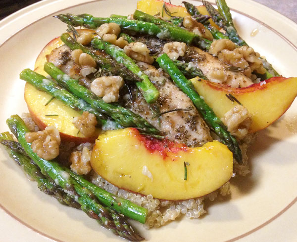 fig jam chicken with nectarines and asparagus