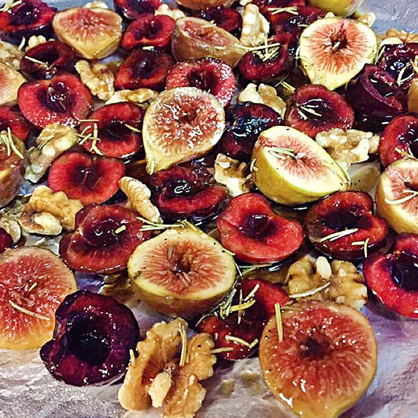 roasted figs, cherries and walnuts for steak topping