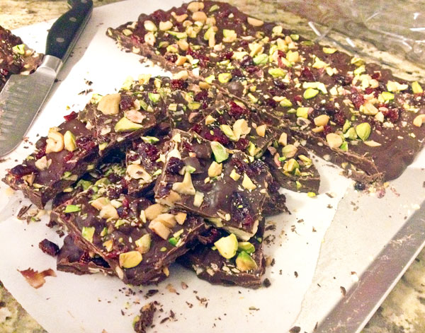 chocolate christmas bark with cranberries and pistachios