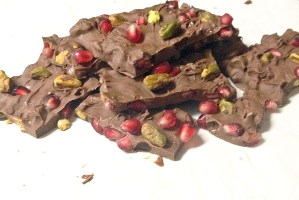 chocolate christmas bark with pomegranates and pistachios
