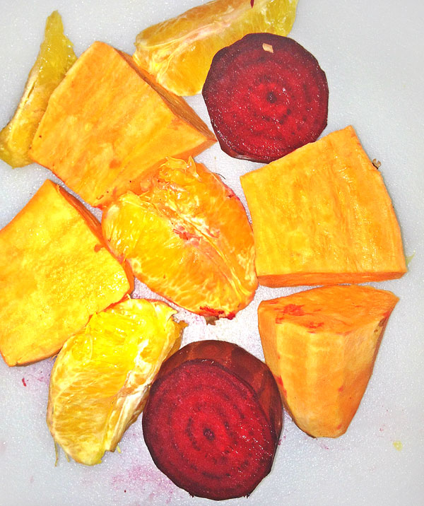 juice prep with beets, oranges and sweet potatoes