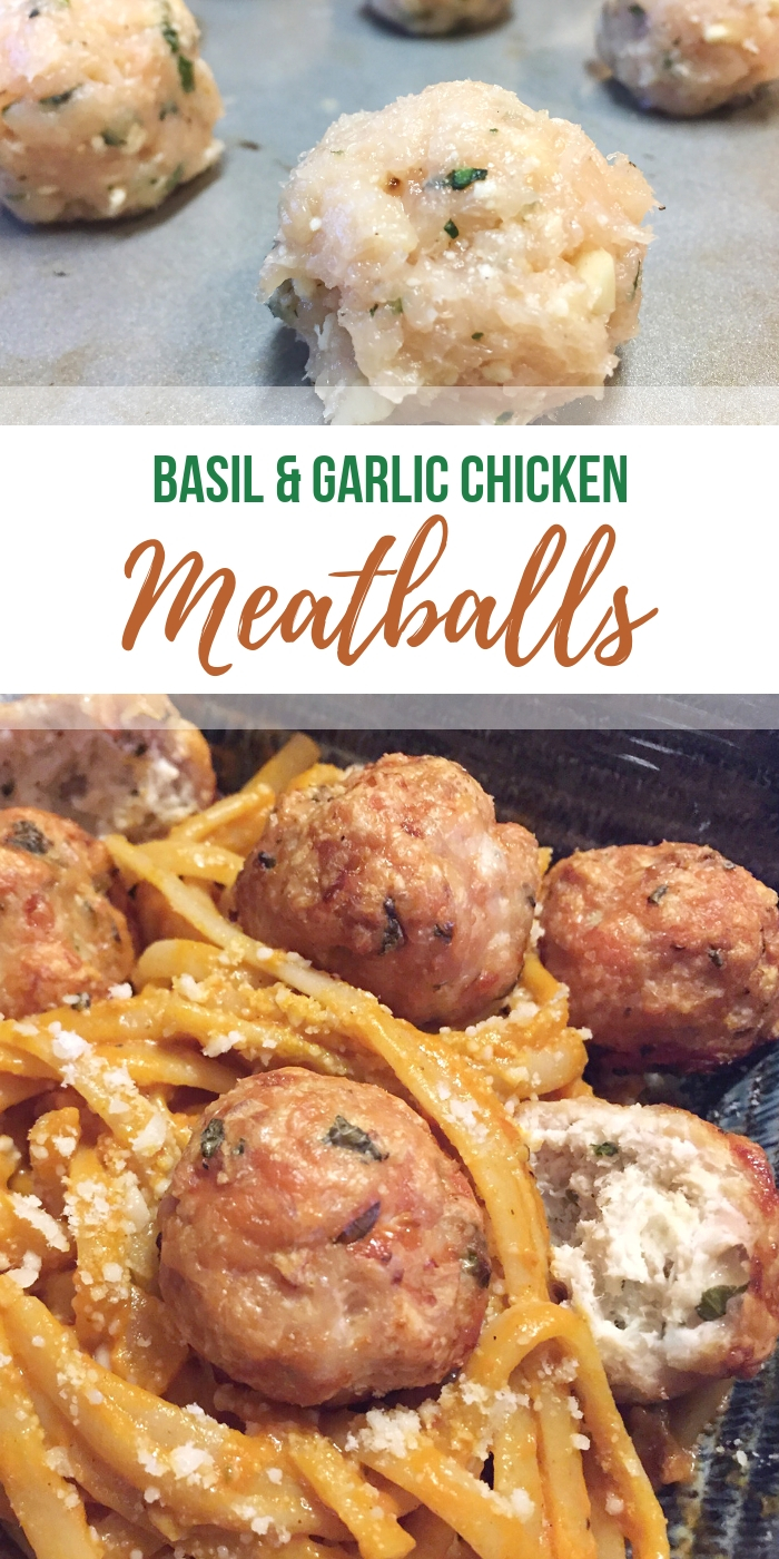 low carb #chickenmeatballs with basil and garlic