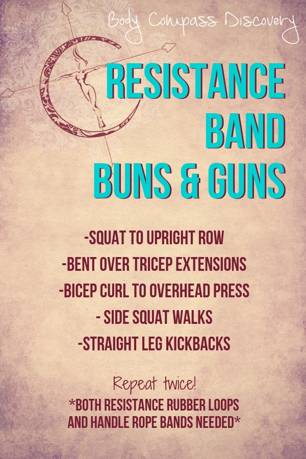 resistance band buns and guns workout from Body Compass Discovery's blog